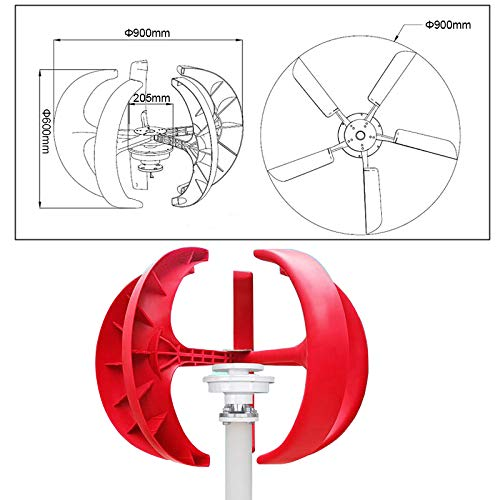 JianKang 600W AC Wind Turbine Generator Lantern Vertical Axis Permanent Magnet Generator for Home 5 Blades Motor Kit 12V/24V (Without Stand),12V