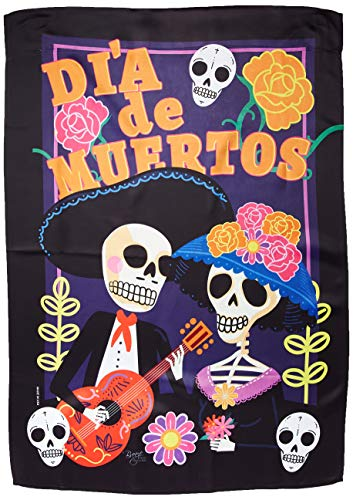 Breeze Decor H112077 Dia De Muertos Couple Vertical House Flag, 28