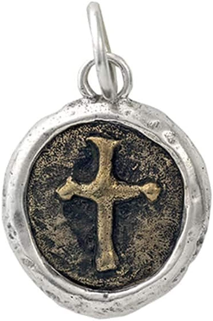 Waxing Poetic Heros Cross Sterling Silver and Bronze Charm