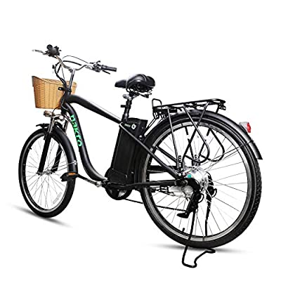 "NAKTO 26"" Adult Electric Bicycles, 250W Motor Electric Bicycles for Adults;Assisted Bicycle for Men Woman with 36V 12A Large Capacity Lithium Battery (Black)"
