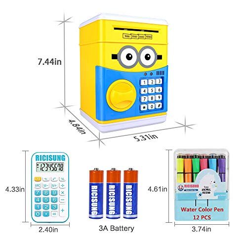 RICISUNG Trustworthy Cartoon Electronic Piggy Bank,ATM Password Piggy Bank Cash Coin Can Auto Scroll Paper Money for Children Gift Toy (Yellow) by RICISUNG (Image #2)