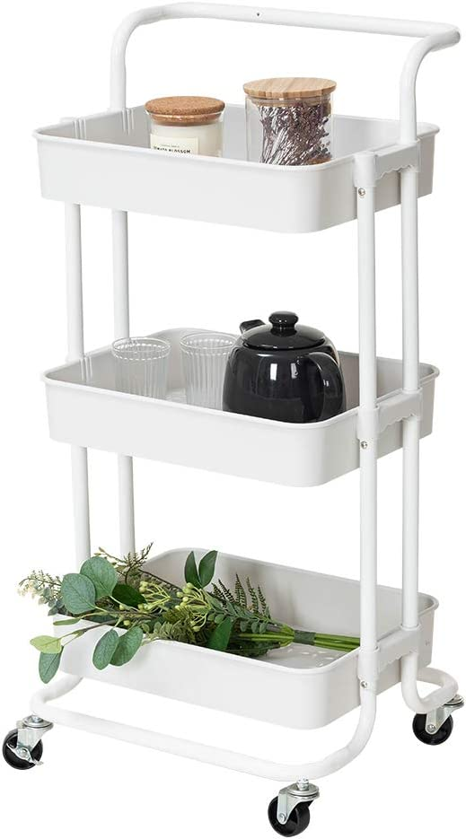 Lomani 3 Tier Storage Cart, Rolling Utility Cart with Brake Caster Wheels, Multifunctional Storage Shelves, Metal Storage Cart, Trolley for Kitchen, Bathroom, Office with Handle -White