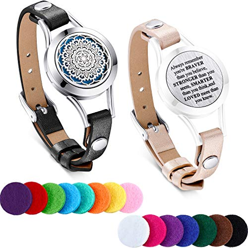 TOODOO 1 Pieces Essential Oil Diffuser Bracelet Aromatherapy Oil Bracelet Locket Bracelet with 2 Leather Bands and 15 Color Pads, Girls Women Jewelry Gift Set (Flower A)