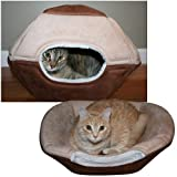 Cheap Pop Up Bungalow Pet Bed: 2 in 1 For Cats or Small Dogs Removable Cushion