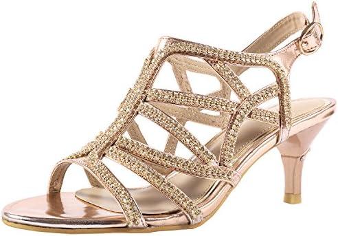 SheSole Women's Low Heel Dress Strappy Sandal Wedding Shoes
