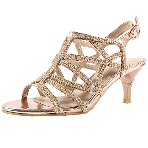 (SheSole Women's Rhinestone Dress Sandals Low Heel Prom Wedding Shoes Gold US 9.5)