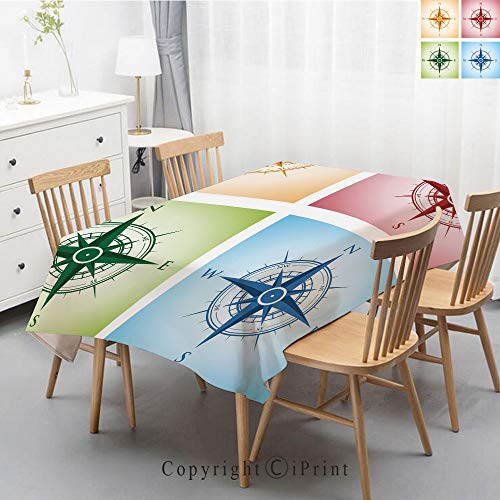 Wedding Party,Allover Print Christmas Fabric Tablecloth,Holly Berry Xmas Print Cloth Tablecloth,55x102 Inch,Compass,Colorful Compasses Windrose Finding Directions Discovery Directions Pathfinding Deco ()