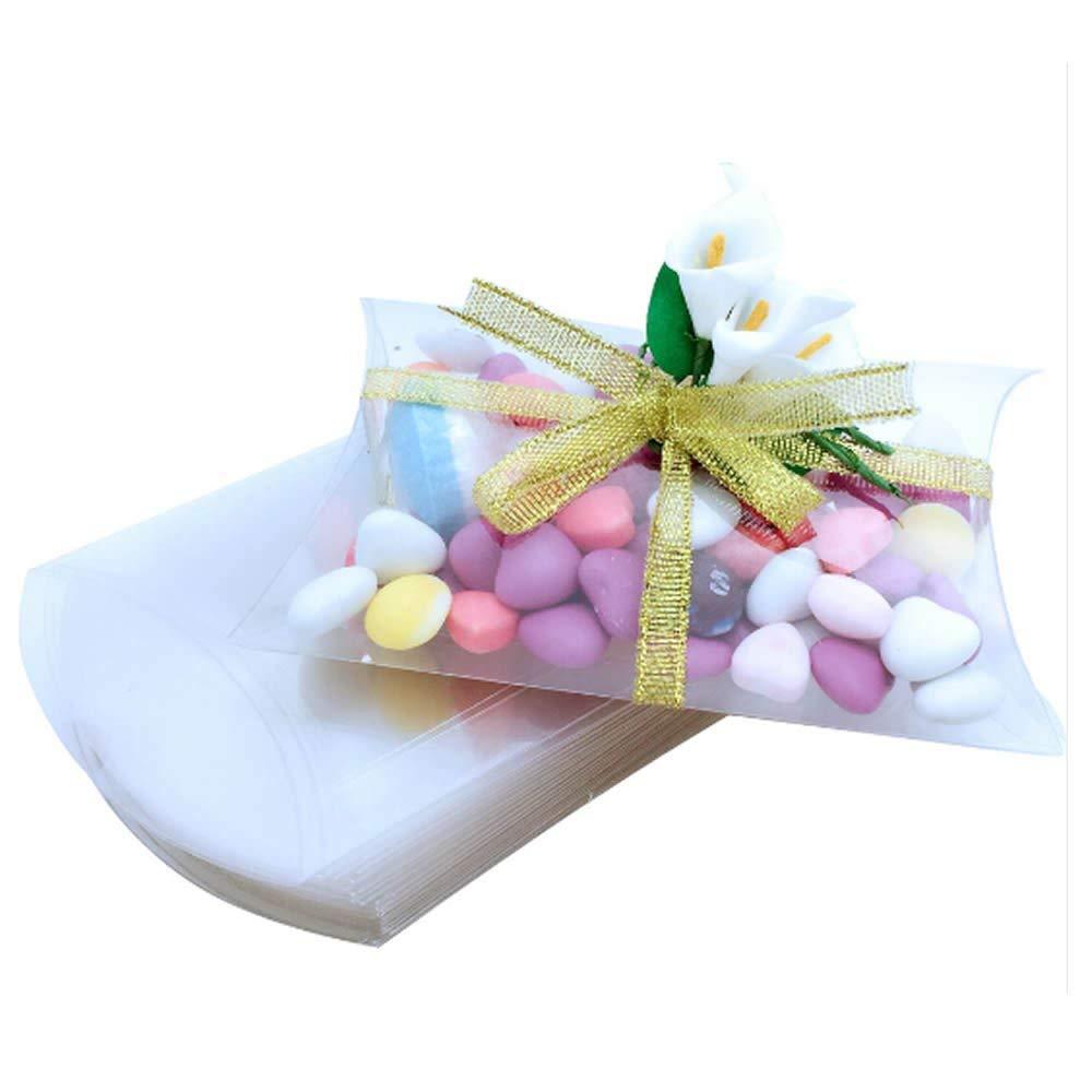 ISKYBOB 50 Piezas Cajas con Forma de Almohadas de Pl/ástico Transparente Mini Regalo Embalaje de Caramelos para Fiestas