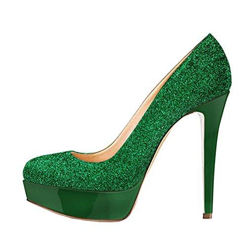 Onlymaker Damen Open Toe Plateau Stiletto High Heel Pumps Schluepfen Party Hochzeit Schuhe Green