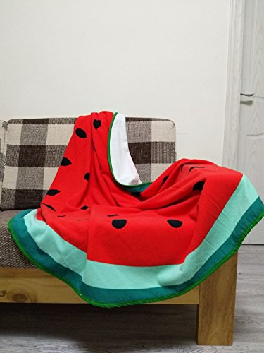 """Lovely Watermelon Beach Travel Towel Round 59"""" - Lightweight Microfiber Home Decor Yoga Mat Sofa Couch Chair Blanket - Absorbent & Quick Dry Bath Towel Shower Casual Wrap"""