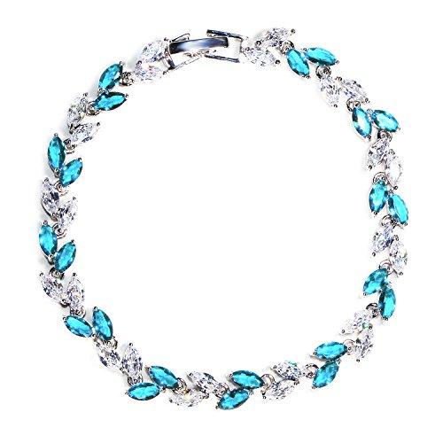 Lights Link Diamond Tennis Bracelet - Me&Hz Light Blue Teal Crystal Tennis Bracelet Swarovski Crystal Silver Bracelets for Women Fashion CZ Bracelet