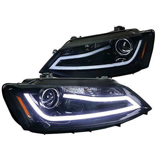 Spec-D Tuning 2LHP-JET11G-TM VW Jetta MK6 Euro Glossy Black Projector Headlights+LED DRL Light Bar