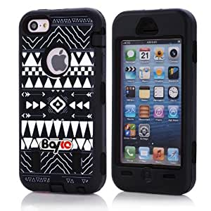 Apple Iphone 5c Fashion Camo Zebra Combo Print & Aztec Tribal Print Hybrid Armorbox Defender Case Protection Impact Bumper Dual Layer Heavy Duty Case Pc&rubber Silicone Material with Hard Holster (Not Fit Iphone 5 & 5s / Bayke Brand / Screen Protector Not Include) (Aztec Tribal Print)