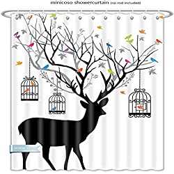 "Minicoso Shower Curtains Antlers Decor Deer With Colorful Birds And Birdcages Silhouette Ornament Vintage Style Polyester Fabric For Bathroom Size-48""W x 72""H"