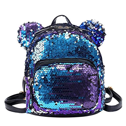 MOCA Mini Small Backpack Daypack for Womens Girls Sequins Mini Small Travelling Outdoor Picnic School College Office Casual Daily use Daypack Backpack Rucksack Back Bag for Womens Girls Kids (Purple)