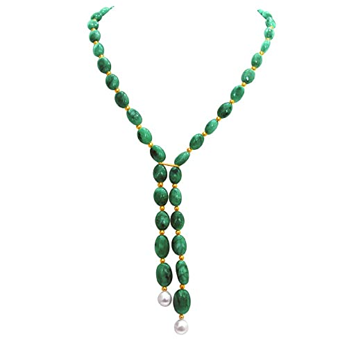 Surat Diamonds Single Line Real Green Oval Emerald, Freshwater Pearl Beads Necklace for Women Necklaces at amazon