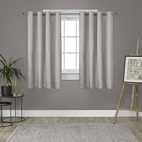 Exclusive Home Curtains Loha Linen Grommet Top Window Curtain Panel Pair, Natural, 52x63 (Sheer Silk Linen)