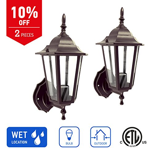 Cast Aluminum One Light - IN HOME 1-Light Outdoor Exterior Wall Up Lantern, Traditional Porch Patio Lighting Fixture L01 with One E26 Base, Water-Proof, Black Cast Aluminum Housing, Clear Glass Panels, (2 Pack) ETL Listed