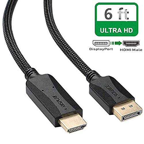 DisplayPort to HDMI Cable 6 ft, DP Display Port to