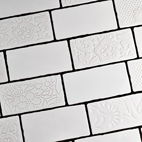 "delicate SomerTile WCVASM Antigue Special Milk Ceramic Wall Tile, 3"" x 6"", White"