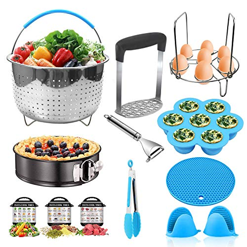 Pressure Cooker Accessories for Instant Pot 6,8 Qt - Steamer Basket,Egg Rack,Springform Cake Pan,Egg Bites Mold,Potato Masher, Potato Peeler,Pot Mitts,Silicone Mat,Food Tong for Instapot 6 and 8 Quart