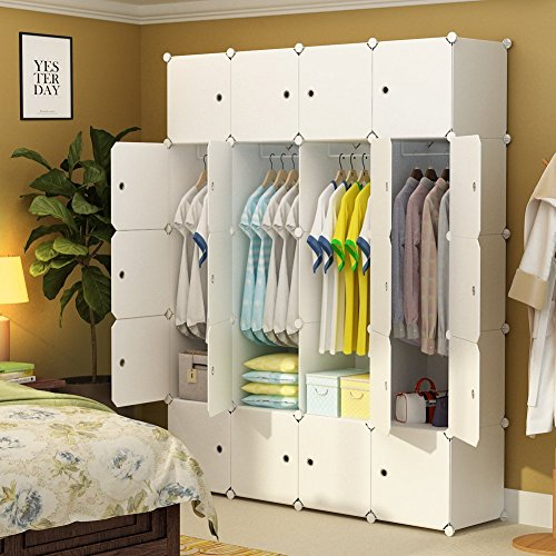 MAGINELS Portable Closet Clothes Wardrobe Bedroom Armoire Storage Organizer with Doors, White, 8 Cubes & 4 Hanging (Bedroom Wardrobe Doors)