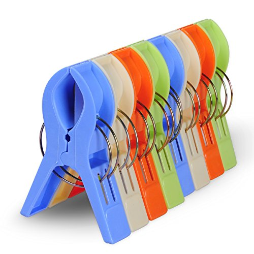 ECROCY 8 Pack Bright Color Jumbo Size Beach Towel Clips for Beach Chairs Or Lounge Chair - Keep Your Towel From Blowing Away,clothes Lines