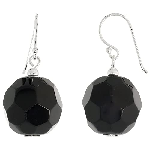 c6cbff591 Amazon.com: Sterling Silver Dangle Earrings, w/ Faceted Black Obsidian  Beads, 1 1/4