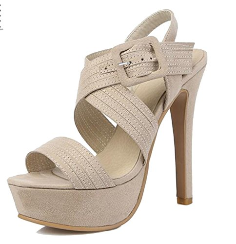 2018 Platform Buckle Fashion Sexy High Heel Summer Lady Style Sandals Size 30 31 32-46 47 48,Apricot,15