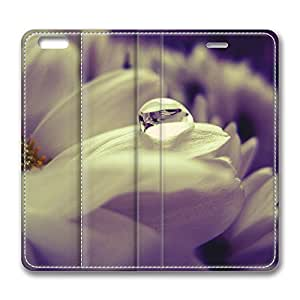 iPhone 6 Plus Case, Fashion Customized Protective PU Leather Flip Case Cover White Daisy Petals Macro for New Apple iPhone 6(5.5 inch) Plus