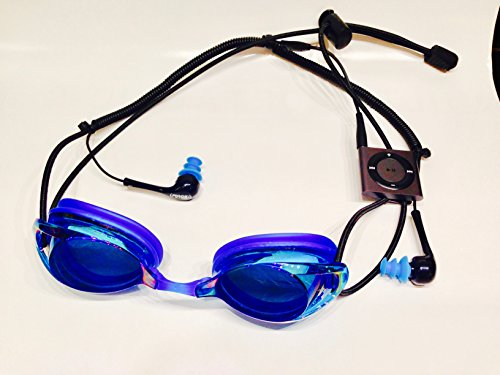 Price comparison product image Blue Multi Sport Audio Goggles with Waterproof iPod Shuffle and Waterproof Earbuds