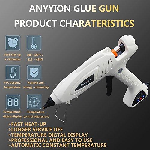 Hot Glue Gun, Anyyion 300W Industrial Glue Gun High Temperature Digital Display Hot Melt Glue Gun,White by Anyyion (Image #2)