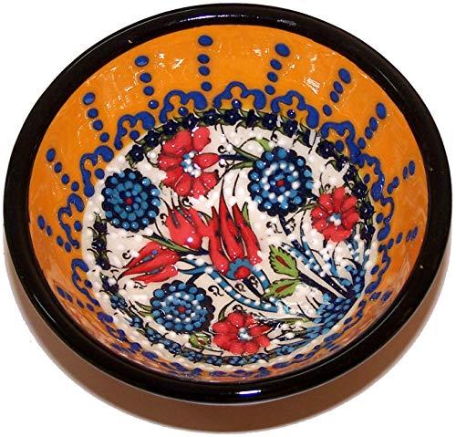 (Holy Land Market Turkish Ceramic Bowl - Yellow Motif - 3 inches)