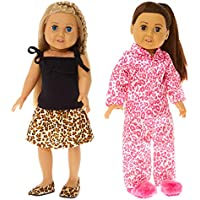 """Springfield Collection Leopard Print Bundle - 18"""" Doll Outfit Set - 4 Items Including Tank, Skirt, Pajamas, Doll Slippers and Flat Doll Shoes - Fits American Girl Dolls"""
