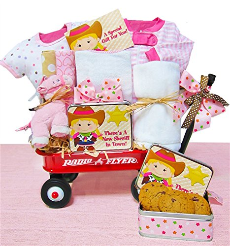 Little Cowgirl | Baby Girl Gift Basket in a Miniature Radio Flyer Wagon