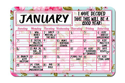 Honey Dew Gifts Pink Floral Shabby Chic Decorative Wall Calendar Planning Board - Reusable Easy - Desk Antique Floral Calendar Monthly