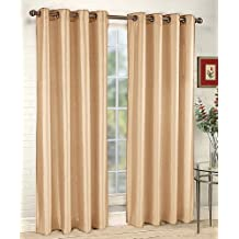 Stylemaster Tribeca 56 by 84-Inch Faux Silk Grommet Panel, Sand