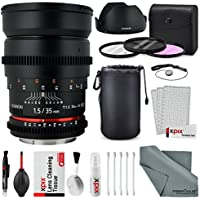 Rokinon 35mm T1.5 Cine AS UMC Lens for Nikon F Mount (CV35-N) with Deluxe Accessory Bundle and Xpix Cleaning Kit
