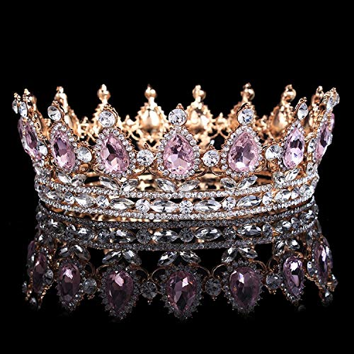 (Vintage Baroque Queen King Bride Tiara Crown For Women Headdress Prom Bridal Wedding Tiaras And Crowns Hair Jewelry Accessories Gold Pink)