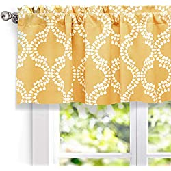 "DriftAway Julianna Valance Geometric/leaf Pattern Thermal/Blackout Window Curtain Valance, Rod Pocket, 52""x18"" (Golden Yellow)"