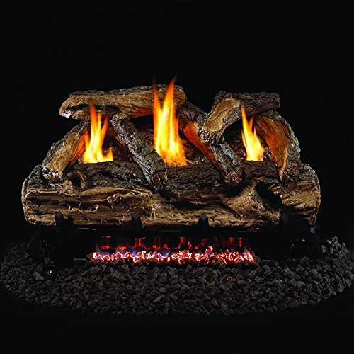 30 Inch Split Oak Vent (Peterson Real Fyre 30-inch Split Oak Log Set With Vent-free Natural Gas Ansi Certified G9 Burner - Variable Flame Remote)