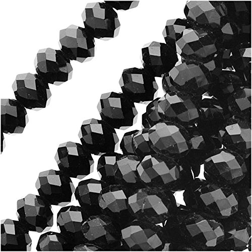 Jet Black Glass Faceted Rondelle Beads 3x4mm (18.5 Inch Strand)