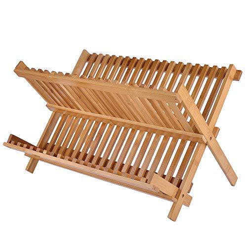 Bamboo Dish Drying Rack, SZUAH Collapsible Dish Drainer, Foldable Dish Rack Bamboo Plate Rack, By 100% Natural Bamboo (17.5