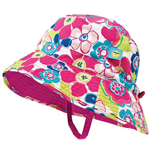 - Pink and Blue Floral Baby Girl Reversible Sunhat by Sun Smarties - Medium
