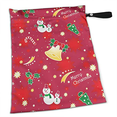 Pumnims Red Christmas Bell Snowman Lollipop for Swimsuit and Towels Waterproof Kids Baby Boy Clothes Diaper Hanging Reusable Menstrual Sanitary Cloth Pads Handle Wristlet Portable Wet-Dry Bag