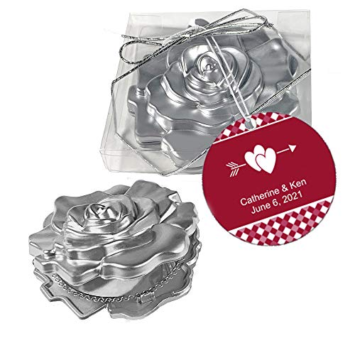 Fashioncraft, Wedding Party Bridal Shower Favors Gifts, Realistic Rose Design Mirror Compacts, Set of 60, Personalized Custom Red Tags