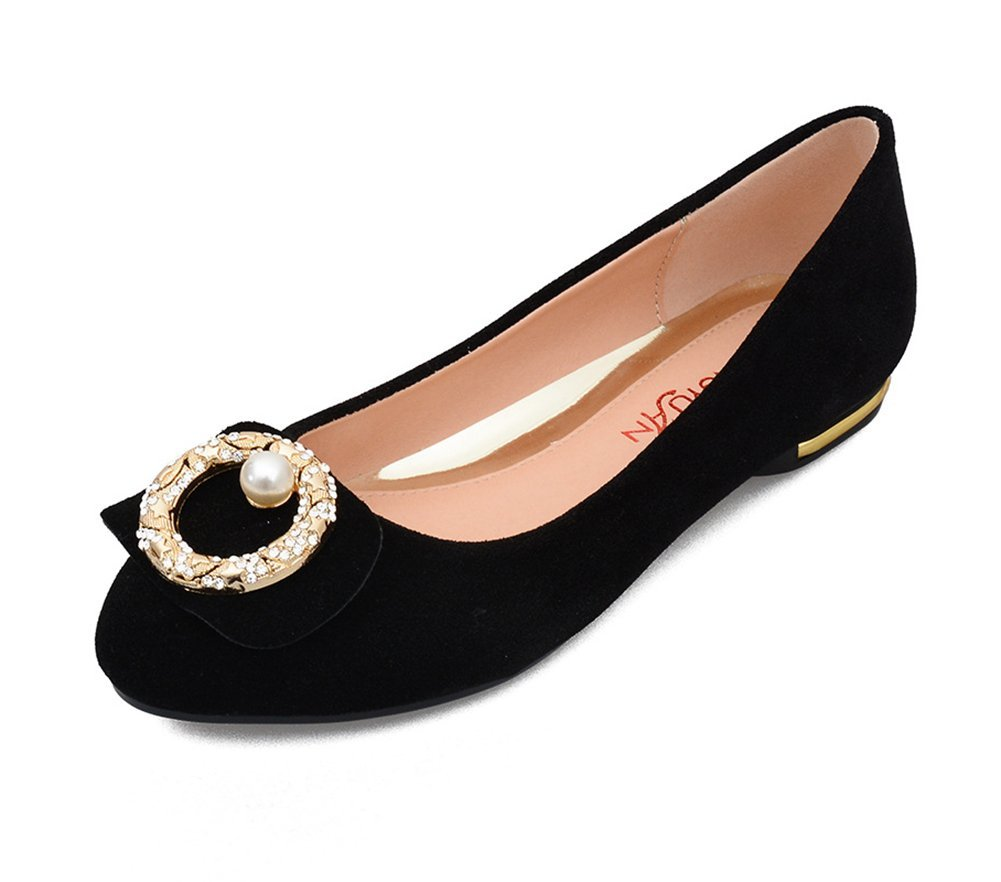 Easemax Women's Trendy Rhinestone Beaded Round Toe Low Top Slip On Low Heel Flats Shoes Black 4 B(M) US