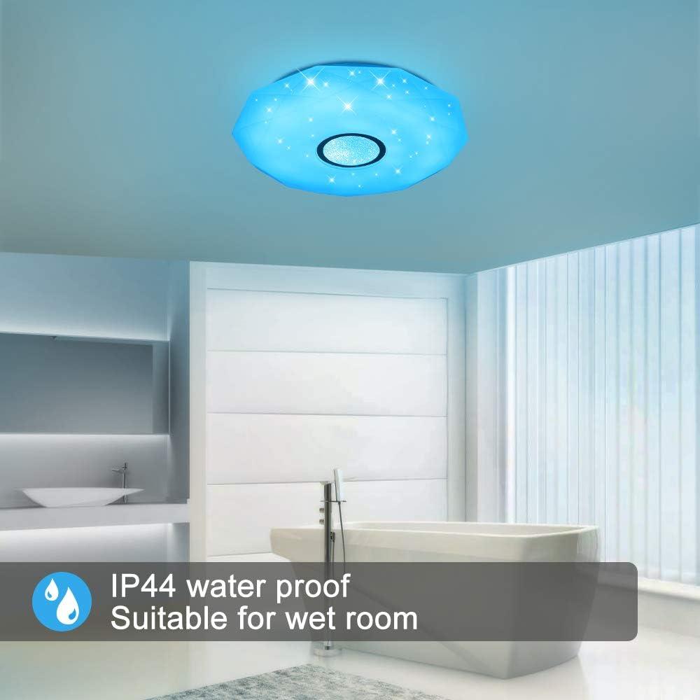 Warmweiss- Kaltweiss IP44 Wasserfest Badzimmerleuchte Sternen dimmbar JDONG Deckenleuchte mit Bluetooth Lautsprecher und Fernbedienung 24W Farbwechsel ohne APP-Steuerung