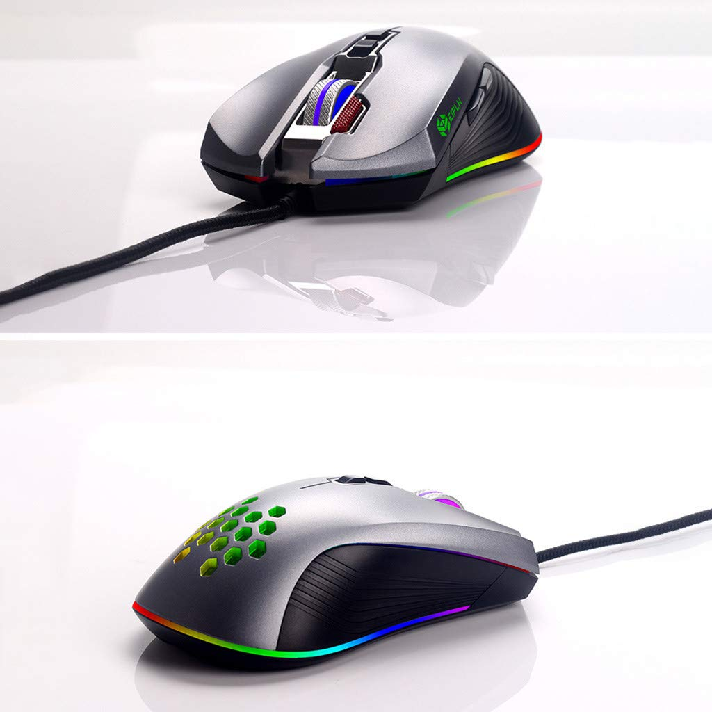 Pomdecy Gaming Mouse//USB Wired 4800DPI//8 Buttons//RGB LED Backlight for PC Laptop//Optical Sensor//Matte Black//Breathing Light