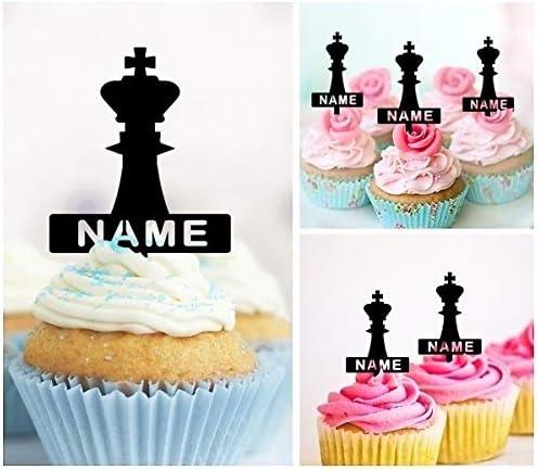Precut King carte et Chess Piece 12 Tasse Gâteau Toppers Anniversaire Tout Âge 18 To 115